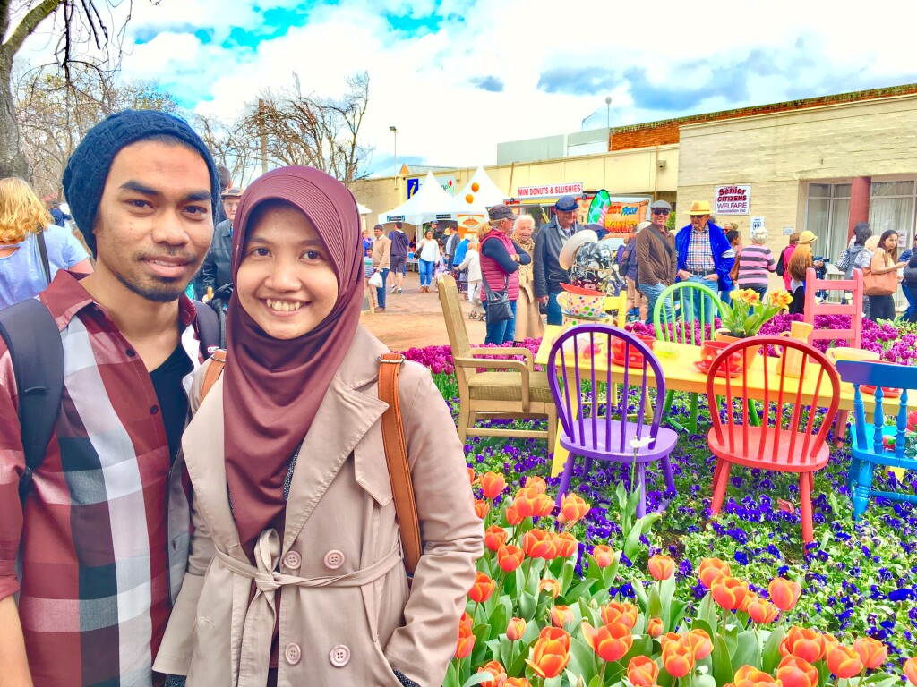 Toni and his wife during their trip to Bowral Community's Tulip Festival. Source: Personal documentation