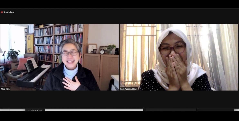 Sari dan supervisornya saat proses bimbingan PhD secara daring. Sumber: Dokumentasi pribadi